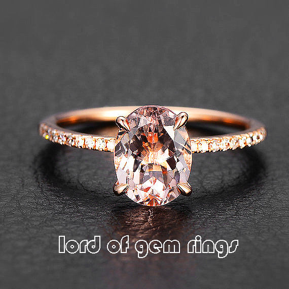Reserved for Sandy Oval Morganite  Ring Flat Shank 10k Rose Gold - Lord of Gem Rings - 1