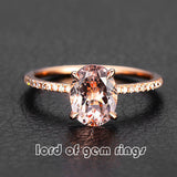 Oval Morganite Engament Ring Pave Diamond Wedding 14k Rose Gold 6x8mm - Lord of Gem Rings - 1