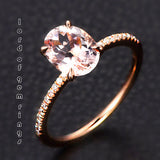 Reserved for Sandy Oval Morganite  Ring Flat Shank 10k Rose Gold - Lord of Gem Rings - 3
