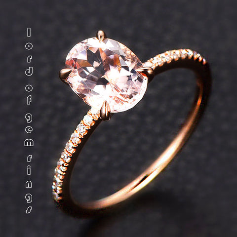 Oval Morganite Engament Ring Pave Diamond Wedding 14k Rose Gold 6x8mm - Lord of Gem Rings - 3