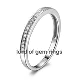 Pave Diamond Wedding Band Anniversary Ring 14K White Gold - VVS-H Diamonds Classic Milgrain - Lord of Gem Rings - 1