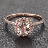 Round Morganite Engagement Ring Sets Pave Diamond Wedding 14K Rose Gold 7mm - Lord of Gem Rings - 3