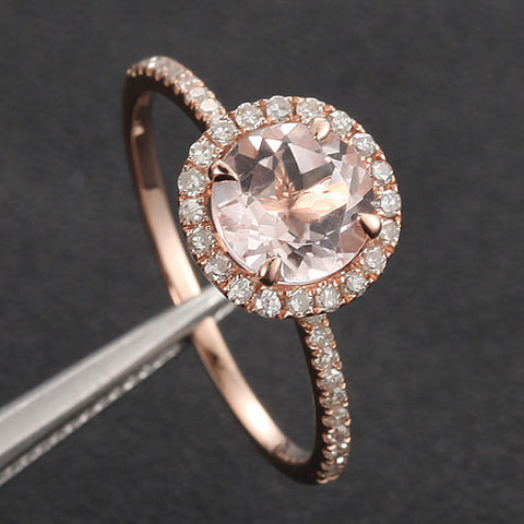 Round Morganite Engagement Ring Sets Pave Diamond Wedding 14K Rose Gold 7mm - Lord of Gem Rings - 2