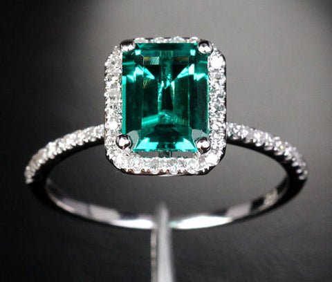 575 Emerald Cut Emerald Engagement Ring Sets 14K White Gold