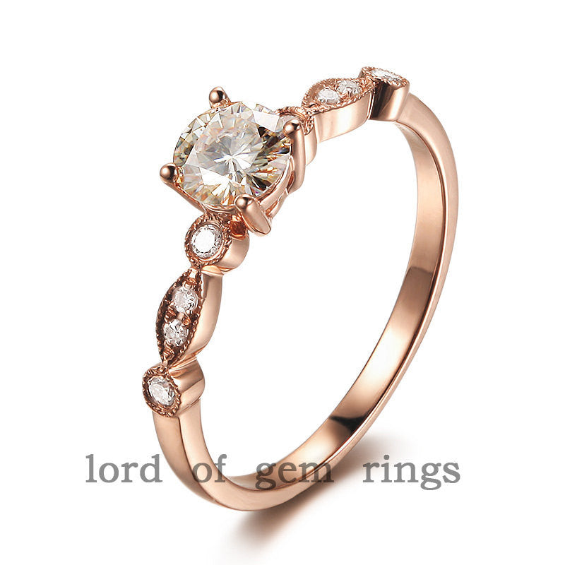Round Forever Brilliant Moissanite Engagement Ring VS Diamond 14K Rose Gold 6.5mm Art Deco - Lord of Gem Rings - 1