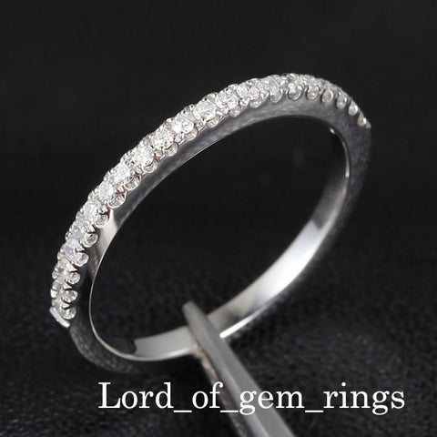 French Pave Diamond Wedding Band Half Eternity Anniversary Ring 14K White Gold - SI/H - Lord of Gem Rings - 1