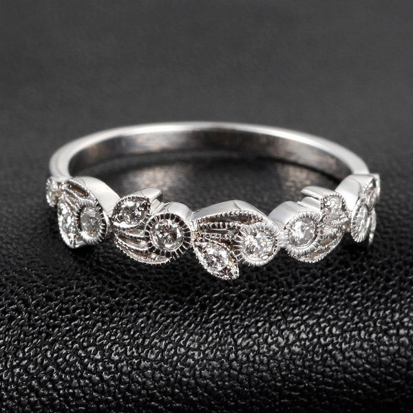 Pave Diamond Wedding Band Eternity Anniversary Ring 14K White Gold  Floral Art Deco Antique Style Milgrain - Lord of Gem Rings - 1