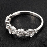 Pave Diamond Wedding Band Eternity Anniversary Ring 14K White Gold  Floral Art Deco Antique Style Milgrain - Lord of Gem Rings - 4