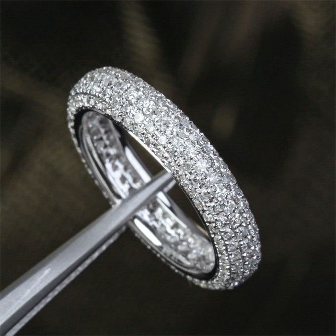 Ready to Ship - Pave Diamond Wedding Band Eternity Anniversary Ring 14K White Gold, 1.55ctw - Lord of Gem Rings - 1