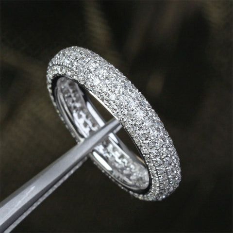 Pave Diamond Wedding Band Eternity Anniversary Ring 14K White Gold, 1.55ctw - Lord of Gem Rings - 1