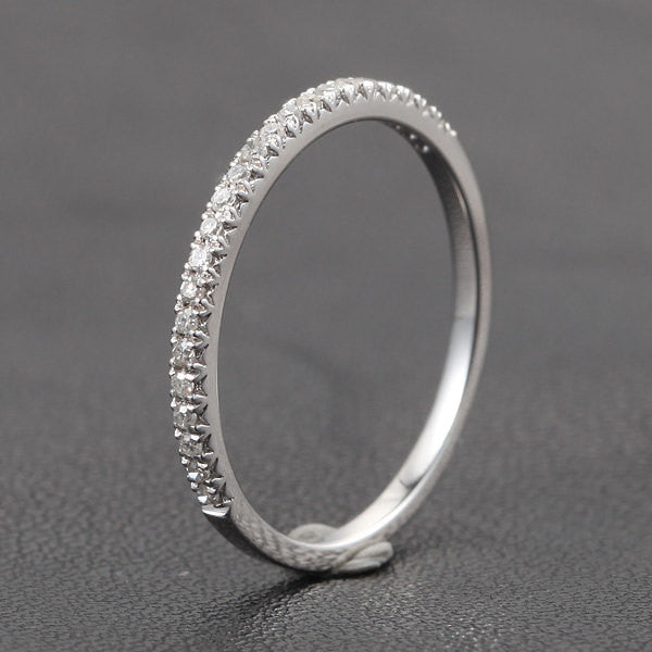 Stackable V Pave Diamond Ring in 14K White Gold - Half Eternity Wedding Band Anniversary Ring Micro Pave - Lord of Gem Rings - 1