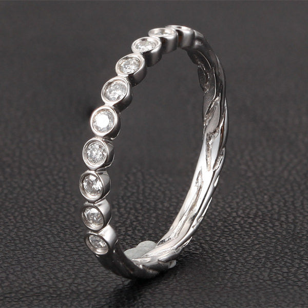 Diamond Wedding Band Half Eternity Anniversary Ring 14K White Gold Bezel Art Deco Hand Crafted Twig - Lord of Gem Rings - 1