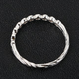 Diamond Wedding Band Half Eternity Anniversary Ring 14K White Gold Bezel Art Deco Hand Crafted Twig - Lord of Gem Rings - 4