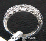 Diamond Wedding Band Half Eternity Anniversary Ring 14K White Gold  Antique Style Filigree - Lord of Gem Rings - 2