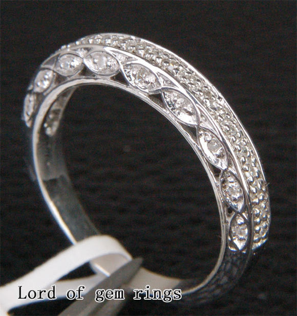 Diamond Wedding Band Half Eternity Anniversary Ring 14K White Gold  Antique Style Filigree - Lord of Gem Rings - 1