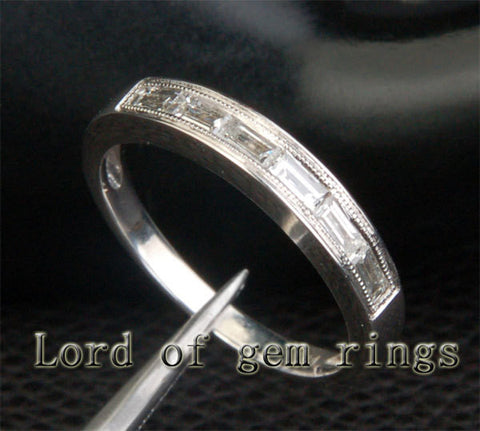 Baguette Diamond Wedding Band Half Eternity Anniversary Ring 14K White Gold Milgrain VS/H Diamonds - Lord of Gem Rings - 1