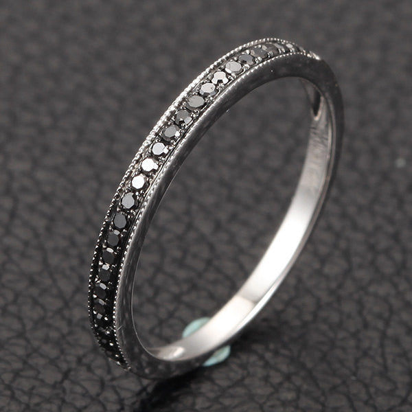 Milgrain Half Eternity Band Pave H/SI Black Diamonds 14K White/Yellow/Rose Gold Wedding Ring - Lord of Gem Rings - 1