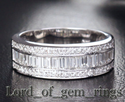 Baguette/Round Diamond Wedding Band Anniversary Ring 14K White Gold Channel Set 1.88ctw - Lord of Gem Rings - 1