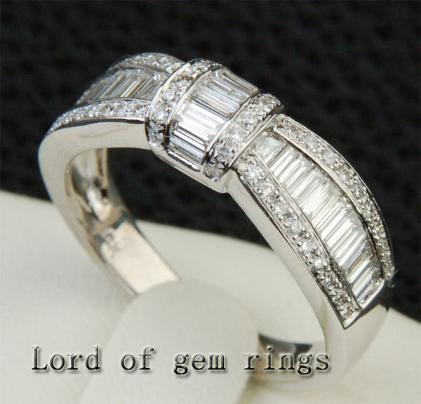 Diamond Wedding Band Engagement Ring 14K White Gold VS Baguette/SI Round 1.27ctw - Lord of Gem Rings - 1