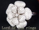 Unique Flower Natural 4.66ctw Diamonds 18K White/Yellow/Rose Gold Pave Engagement Ring 13.68g! - Lord of Gem Rings - 2