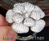 Unique Flower Natural 4.66ctw Diamonds 18K White/Yellow/Rose Gold Pave Engagement Ring 13.68g! - Lord of Gem Rings - 3
