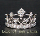 Unique .57ct Diamonds Solid 14K White/Yellow/Rose Gold Wedding Band Engagement Crown Anniversary Ring - Lord of Gem Rings - 1