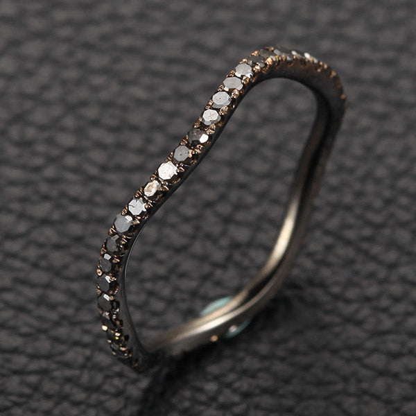 Pave Black Diamond Wedding Band Eternity Anniversary Ring 14K White Gold Curved - Lord of Gem Rings - 1