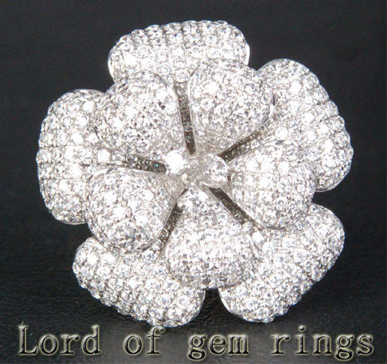 Unique Flower Natural 4.66ctw Diamonds 18K White/Yellow/Rose Gold Pave Engagement Ring 13.68g! - Lord of Gem Rings - 1