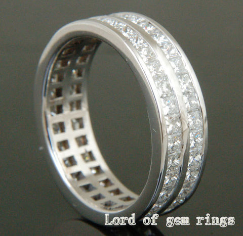 Princess Diamond Wedding Band Eternity Anniversary Ring 14K White Gold- VS/H Diamonds 3.08ct - Lord of Gem Rings - 1