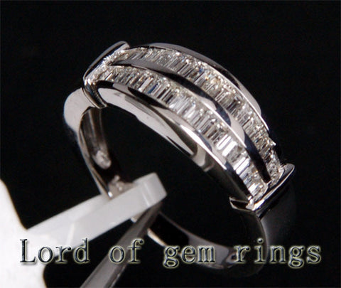 Baguette VS Diamonds Wedding Band Anniversary Ring 14K White Gold .83ctw Channel Set - Lord of Gem Rings - 1