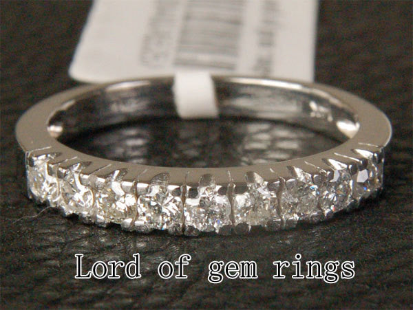 Natural Diamond Wedding Band Half Eternity Anniversary Ring 14K White Gold - 0.65ct - Lord of Gem Rings - 1