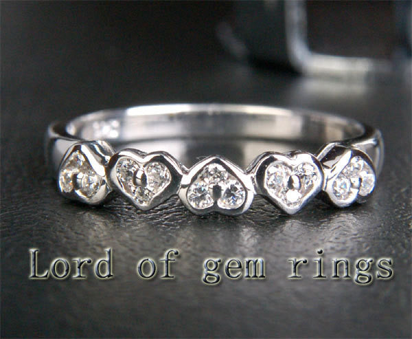 Diamond Wedding Band Half Eternity Anniversary Ring 14K White Gold Unique 5 Heart Shaped - Lord of Gem Rings - 1