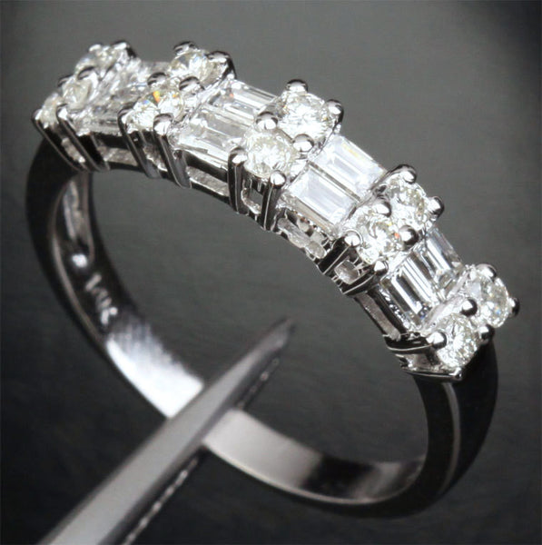 780 Baguette Round Diamond Wedding Band Half