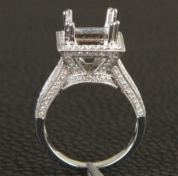 Reserved for Ken, 2nd payment  Diamond Princess Semi mount Ring 14K White Gold Setting - Lord of Gem Rings - 1