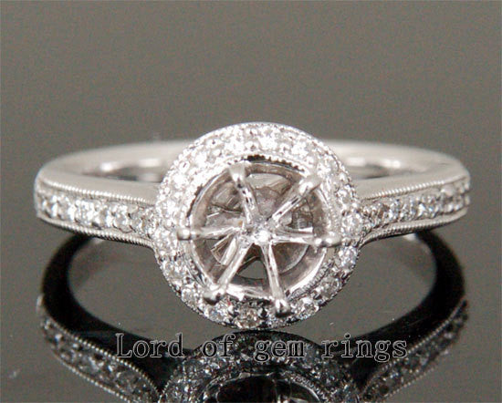 Diamond Engagement Semi Mount Ring 14K White Gold Setting Round 6.5mm Milgrain - Lord of Gem Rings - 1