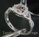 Emerald Cut 4x6mm 14K White/Yellow/Rose Gold .38ct Diamonds Wedding Semi Mount Ring Setting - Lord of Gem Rings - 3