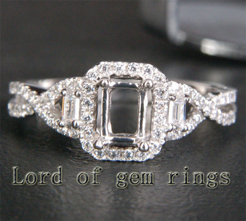 Emerald Cut 4x6mm 14K White/Yellow/Rose Gold .38ct Diamonds Wedding Semi Mount Ring Setting - Lord of Gem Rings - 1