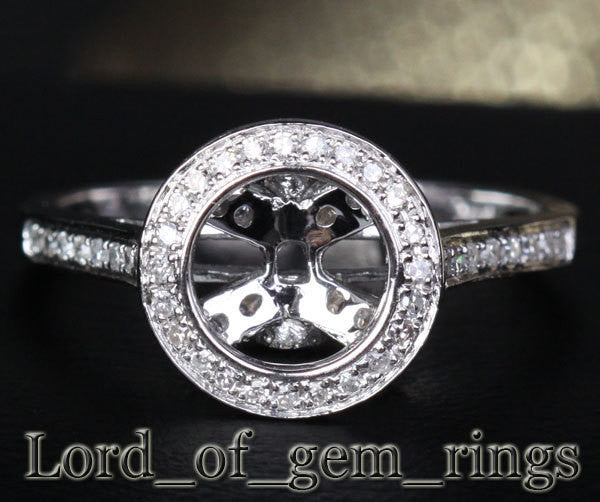 Diamond Engagement Semi Mount Ring 14K White Gold Setting Round 6-6.5mm Bezel - Lord of Gem Rings - 1