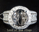 Diamond Engagement Semi Mount Ring 14K White Gold Setting Round 11mm - Invisible Princess VS Diamonds - Lord of Gem Rings - 1