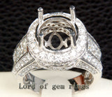 Diamond Engagement Semi Mount Ring 14K White Gold Setting Round 11mm - Invisible Princess VS Diamonds - Lord of Gem Rings - 2