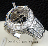Diamond Engagement Semi Mount Ring 14K White Gold Setting Round 11mm - Invisible Princess VS Diamonds - Lord of Gem Rings - 5