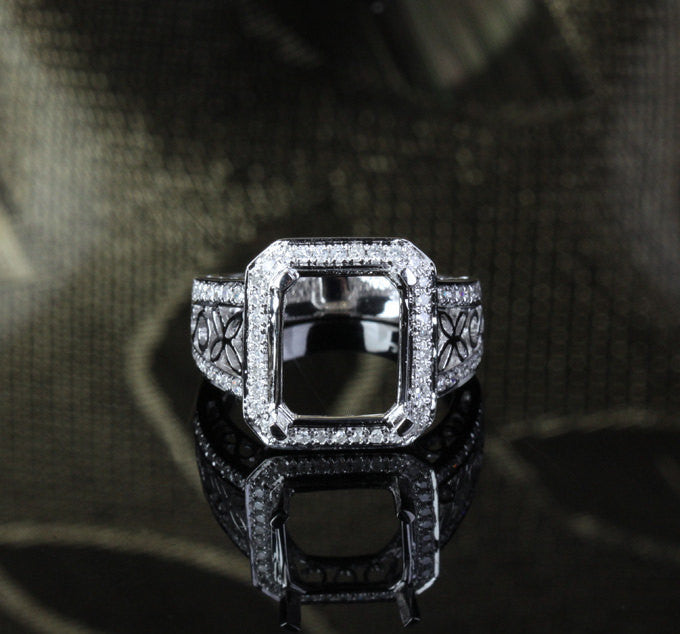 Diamond Engagement Semi Mount Ring 14K White Gold Setting Emerald Cut 10x12mm - Lord of Gem Rings - 1