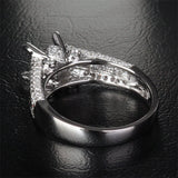 Diamond Engagement Semi Mount Ring 14K White Gold Setting Princess 6mm - Lord of Gem Rings - 4