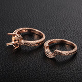Engagement Semi Mount Ring Sets 14K Rose Gold Setting Oval 7x9mm Filigree - Lord of Gem Rings - 3