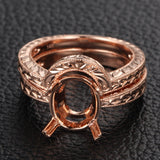 Engagement Semi Mount Ring Sets 14K Rose Gold Setting Oval 7x9mm Filigree - Lord of Gem Rings - 2