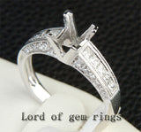 Diamond Engagement Semi Mount Ring 14K White Gold Setting Princess 5x5mm - Lord of Gem Rings - 1