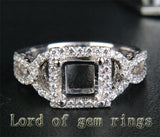 Diamond Engagement Semi Mount Ring 14K White Gold Setting Princess 5.5mm - Lord of Gem Rings - 1