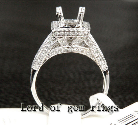 Diamond Engagement Semi Mount Ring 14K White Gold Setting Emerald Cut 6X8mm Milgrain - Lord of Gem Rings - 1