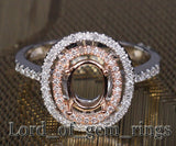 Diamond Engagement Semi Mount Ring 14K Two Tone Gold Setting Oval 6x8mm - Lord of Gem Rings - 2