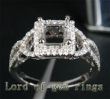 Diamond Engagement Semi Mount Ring 14K White Gold Setting Princess 5.5mm - Lord of Gem Rings - 2